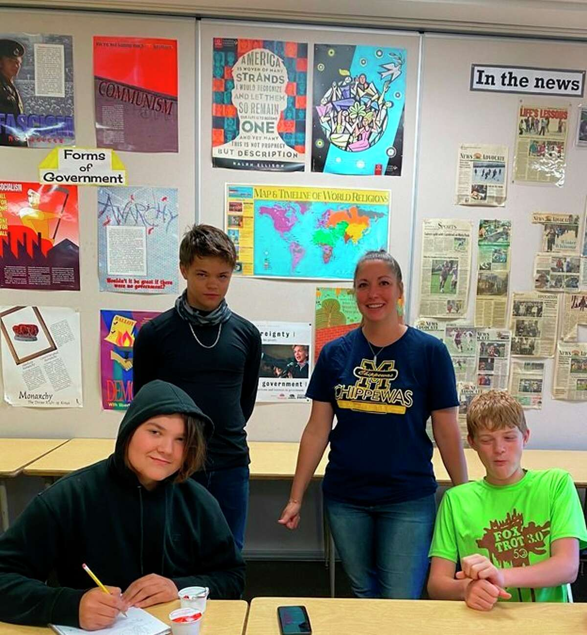 Substitute teacher Jaclyn Baca poses for a photo with her Manistee Middle School Summer Enrichment students,Ian O'Connor (left), Ethan Hanes and Chris Eilers. (Courtesy photo)