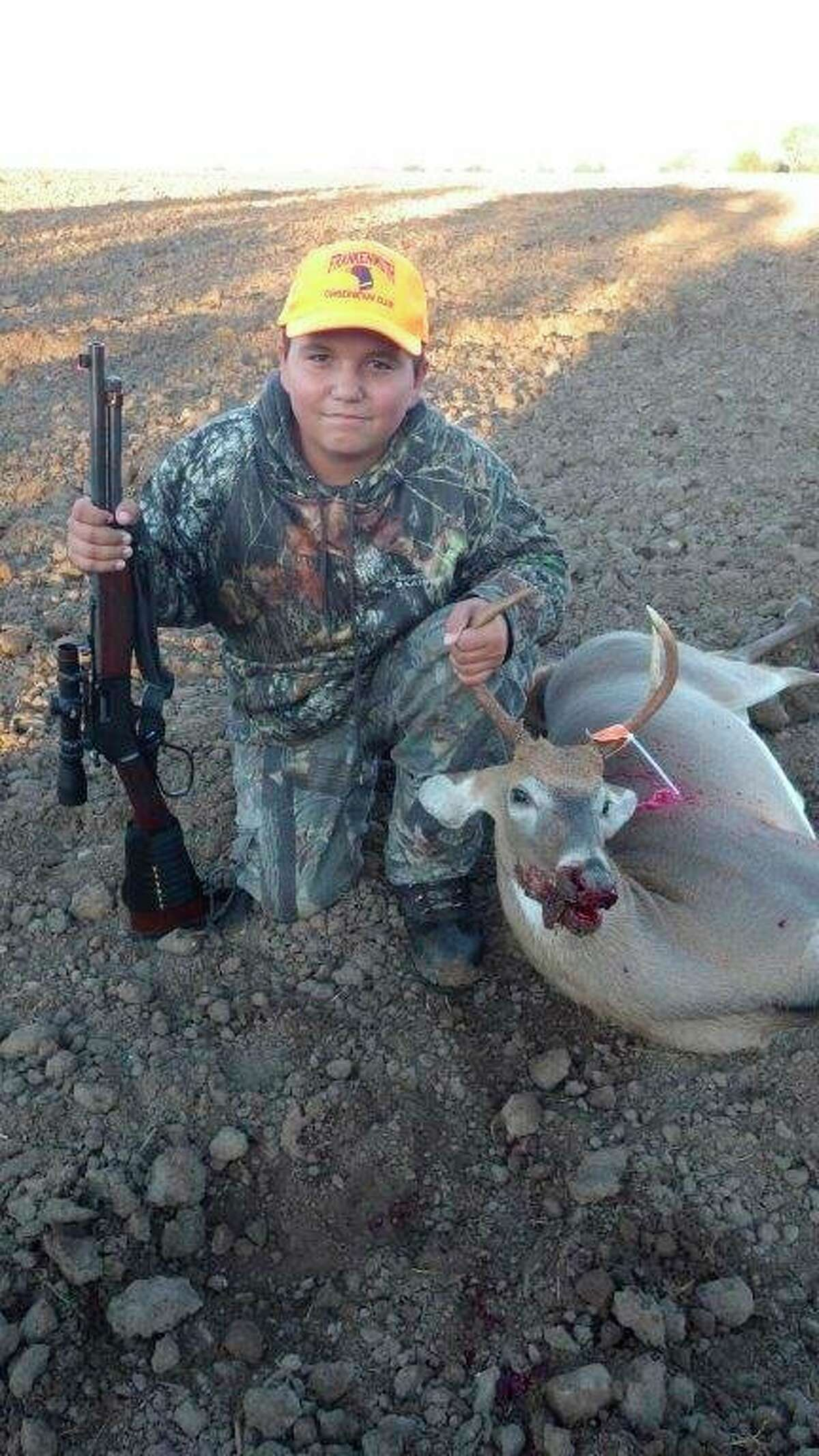 A 14-year-old Dale Skinner, of Akron, used the writer's .44 Magnumlever-action Henry Carbine to drop his 2018 Liberty Hunt buck with one shotat 75 yards. (Tom Lounsbury/Hearst Michigan)