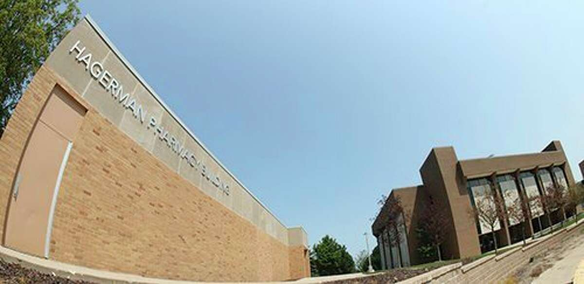 The Hagerman Pharmacy building and the Allied Health building at Ferris State University. (Courtesy photo)