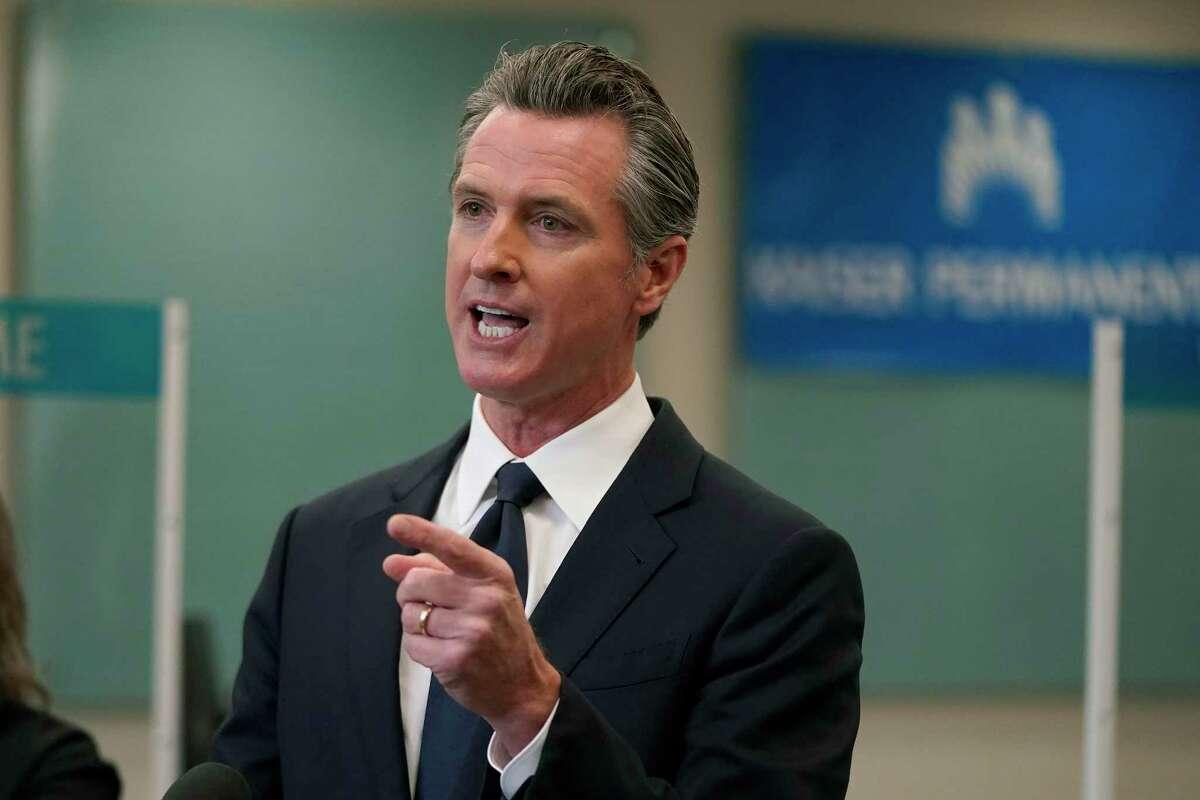 Gov. Gavin Newsom speaks at a news conference in Oakland, Calif. on Monday, July 26, 2021.