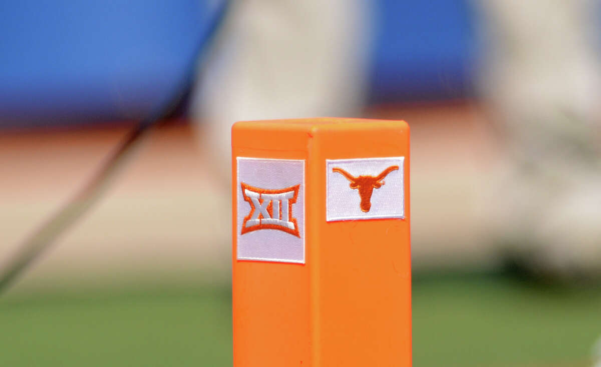 AUSTIN, TX - OCTOBER 03: A Texas Longhorn and Big XII logo are displayed on a pylon during game featuring the TCU Horned Frogs and the Texas Longhorns on October 3, 2020, at Darrell K Royal-Texas Memorial Stadium in Austin, TX. (Photo by John Rivera/Icon Sportswire via Getty Images)