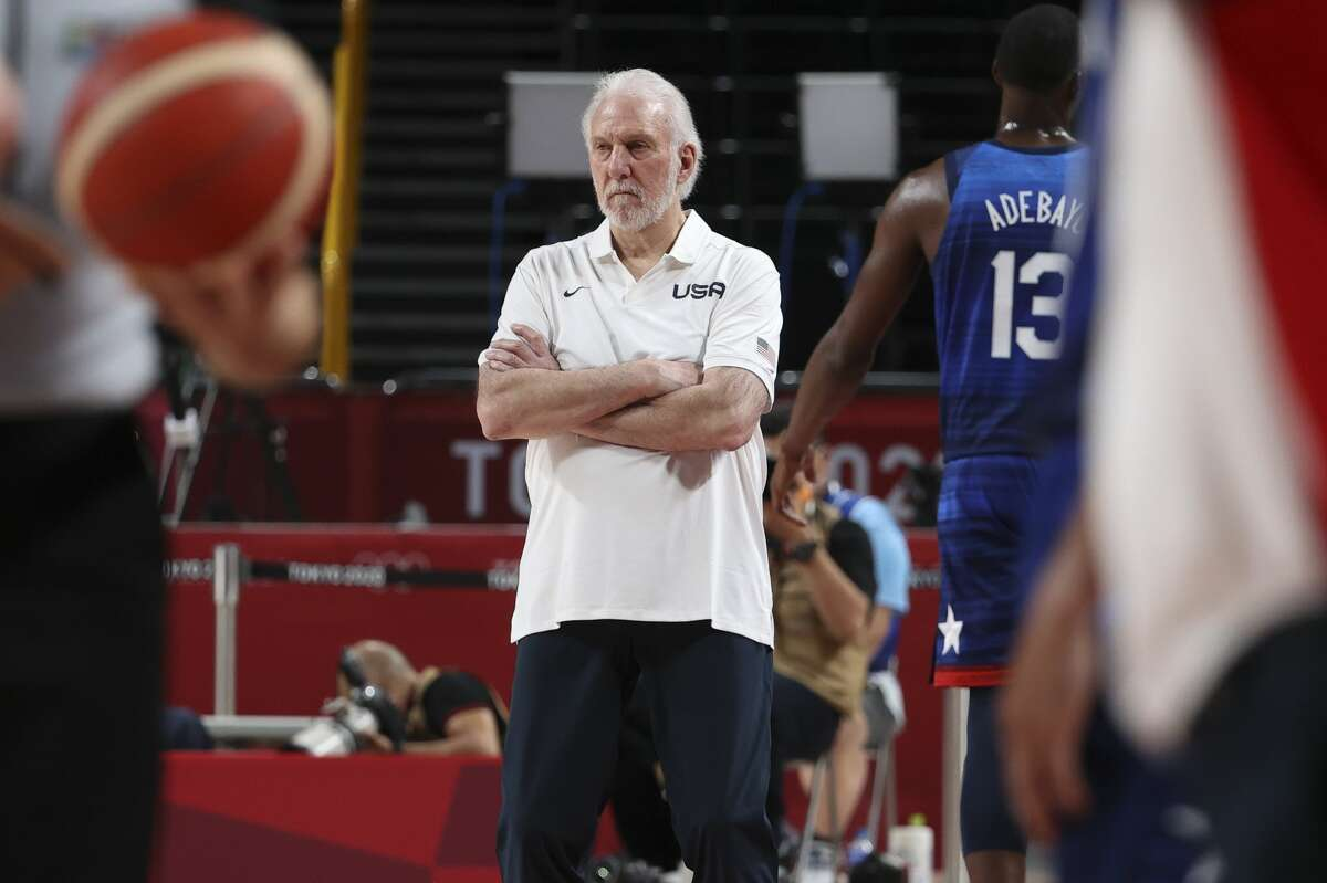 SAITAMA, JAPAN - JULY 25: Coach of USA Gregg Popovich during the Men's Preliminary Round Group B basketball game between United States and France on day two of the Tokyo 2020 Olympic Games at Saitama Super Arena on July 25, 2021 in Saitama, Japan (Photo by Jean Catuffe/Getty Images)