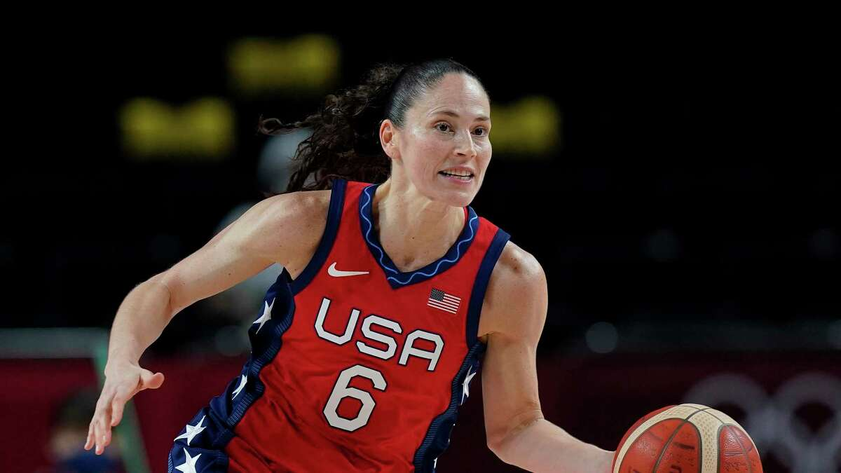 The United States' Sue Bird drives the ball up the court during a preliminary round game against Nigeria at the 2020 Summer Olympics on Tuesday.