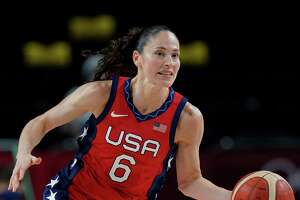 United States' Sue Bird (6) drives the ball up the court during women's basketball preliminary round game against Nigeria at the 2020 Summer Olympics, Tuesday, July 27, 2021, in Saitama, Japan. (AP Photo/Eric Gay)