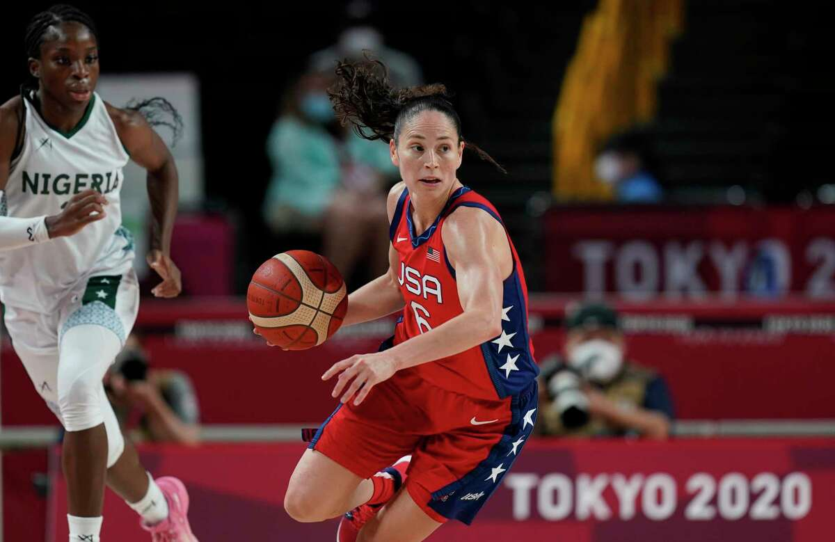 The United States' Sue Bird brings the ball up court during a preliminary round game against Nigeria at the 2020 Summer Olympics on Tuesday.