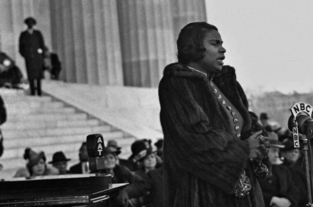 Opera singer Marian Anderson performing at the Lincoln Memorial. Anderson's mural will be painted on a wall in downtown Danbury, overlooking Kennedy Park.