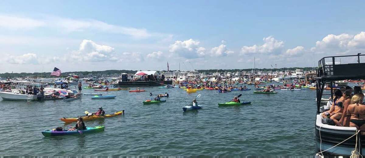 Boats in the water off Milford, Conn., on Saturday, July 24, 2021.