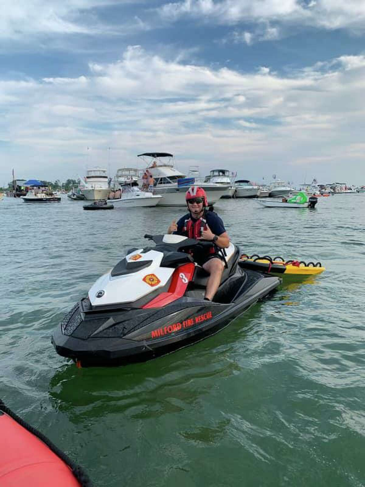 Crews responded to several incidents in the water off Milford, Conn., on Saturday, July 24, 2021.