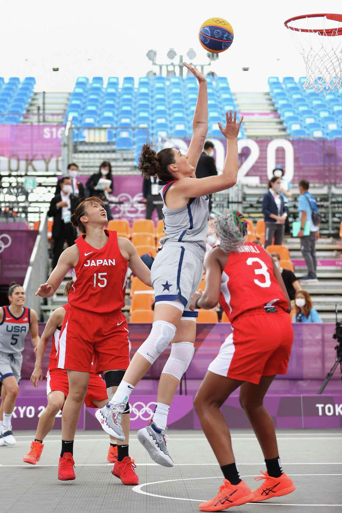 Stefanie Dolson of Team United States, drives to the basket in the 3x3 Basketball competition at the Tokyo 2020 Olympic Games on Tuesday.