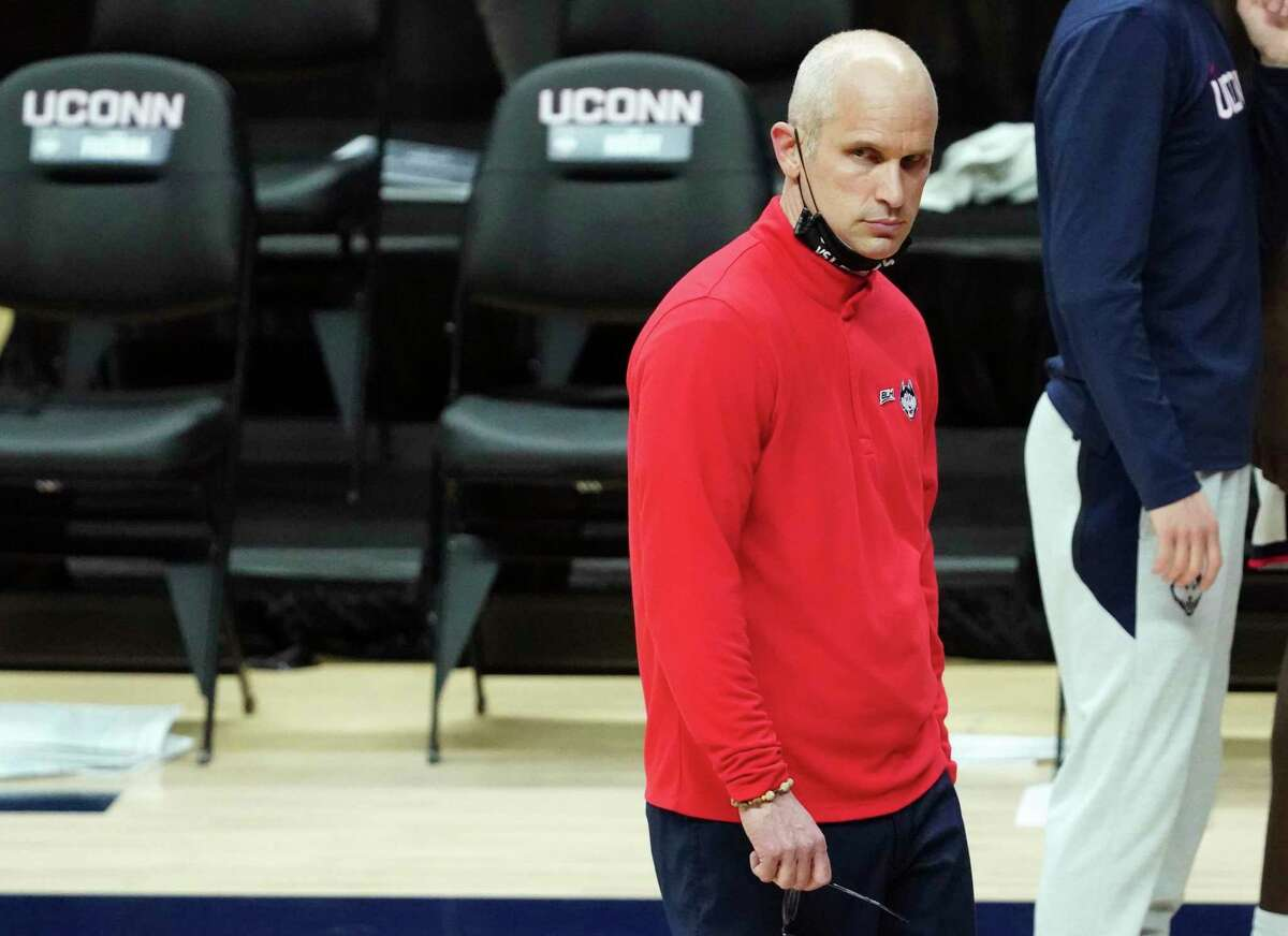UConn coach Dan Hurley watches from the sideline during the second against Butler in January.