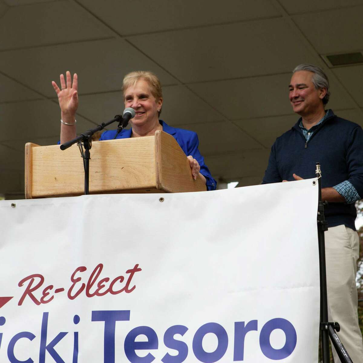 First Selectman Vicki Tesoro announces her candidacy for a third term Monday, May 10, 2021.