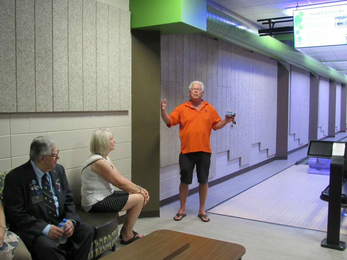 West Midland Family Center Director Greg Dorrien leads Midland Kiwanis members on a tour of the facilities on Monday, July 26.