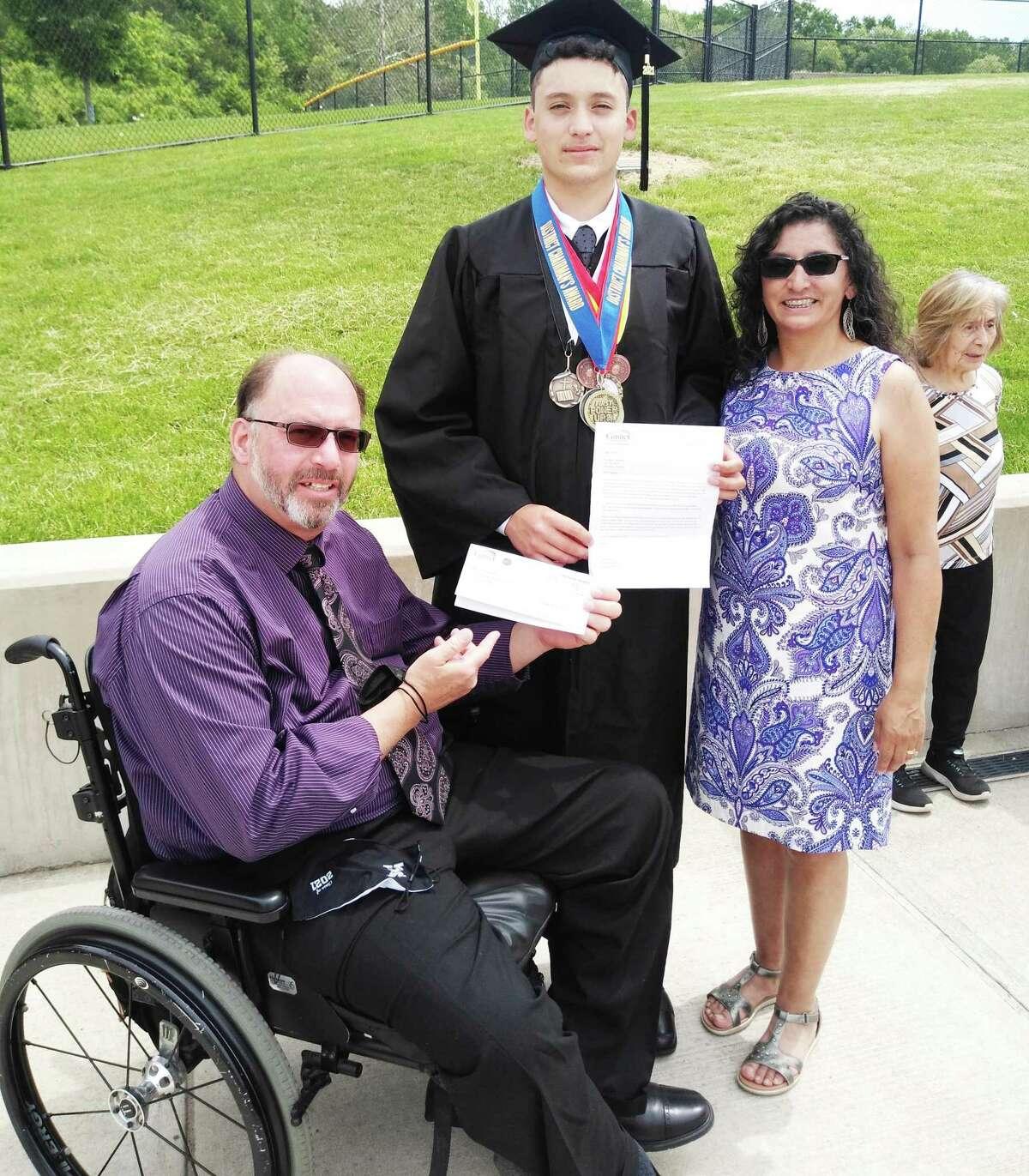 Jonathan Gonzalez of Meriden has received the 2021 Liberty Bank Donald B. Wilbur Scholarship. He is pictured with his parents, Hiram, left, and Angela Gonzalez.