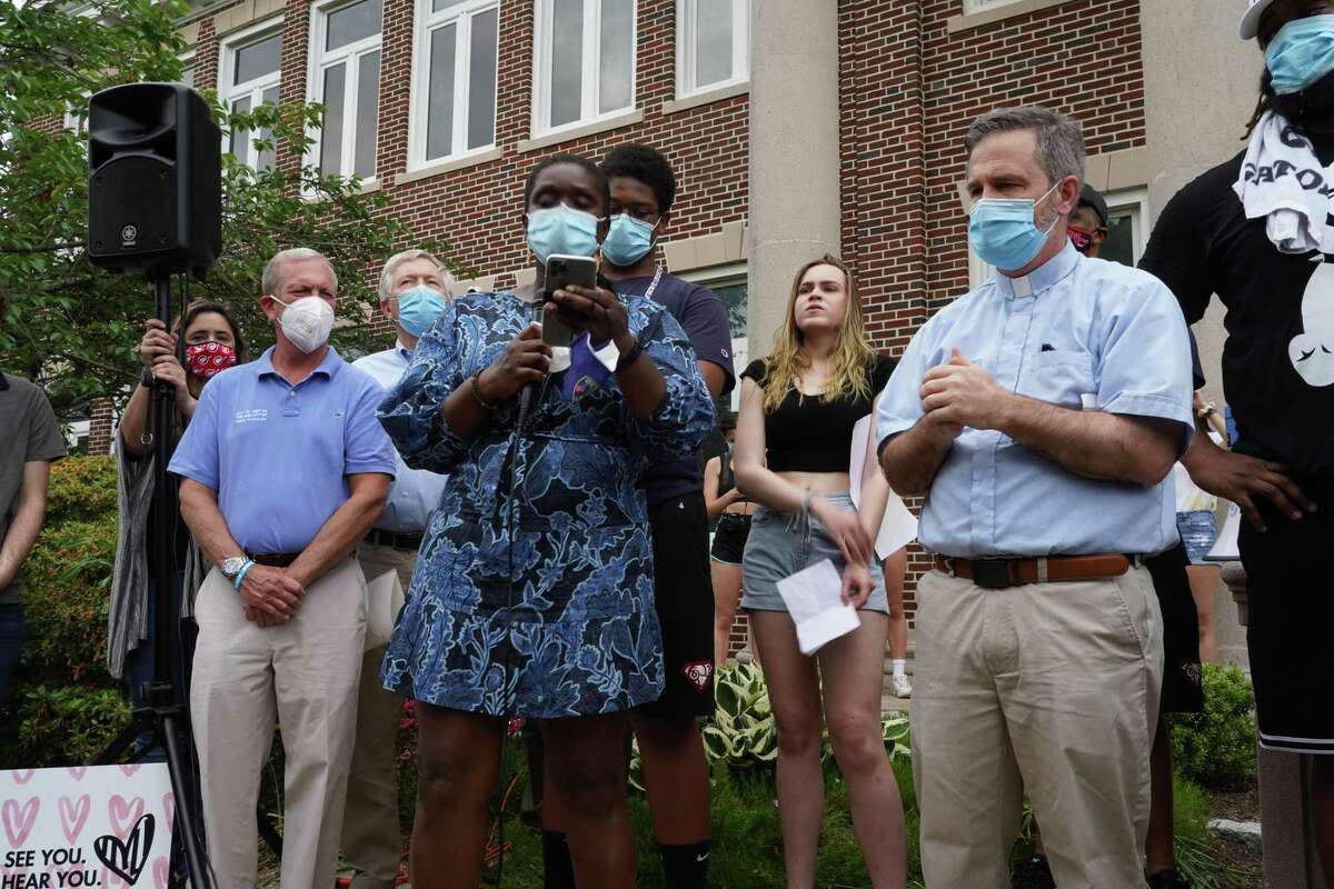 Fatou Niang spoke during a protest against racism in front of the New Canaan Police Department on June 4, 2020.