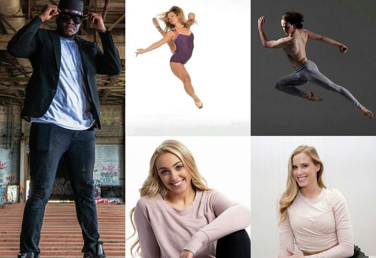"""From left going clockwise,Corey """"Mission"""" Whitfield, So You Think You Can Dance finalist for season 10; Kayla French, principle dancer and teacher currently with Tampa Ballet Theater; Paul Craig, principle dancer with Boston Ballet; Brandy Solberg-Hogan, Great Lakes Dance Academy owner and teacher in Petoskey; and Bethany Socher, Conservatory of Dance faculty, will teach local dancers throughout the week, ending in a free performance on Friday. (Courtesy photos)"""