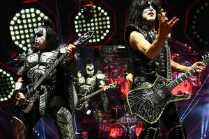 NEW YORK, NEW YORK - MARCH 27: Gene Simmons, Paul Stanley of KISS perform on stage during End Of The Road World Tour at Madison Square Garden on March 27, 2019 in New York City. (Photo by Kevin Mazur/Getty Images)