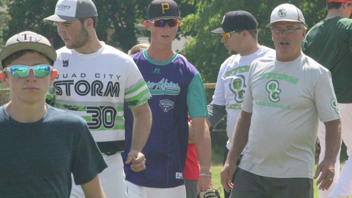 Dave Yonker (right) and the Quad City Storm baseball program is looking for players to attend next week's workouts at Win Kellum Field. (Pioneer file photo)