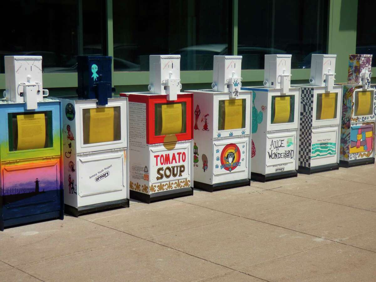 The public can vote ontheir favorite among these little food pantries this week at 400 River Str. in Manistee. The boxes will be installed at locations around Manistee County next week. (Scott Fraley/News Advocate)