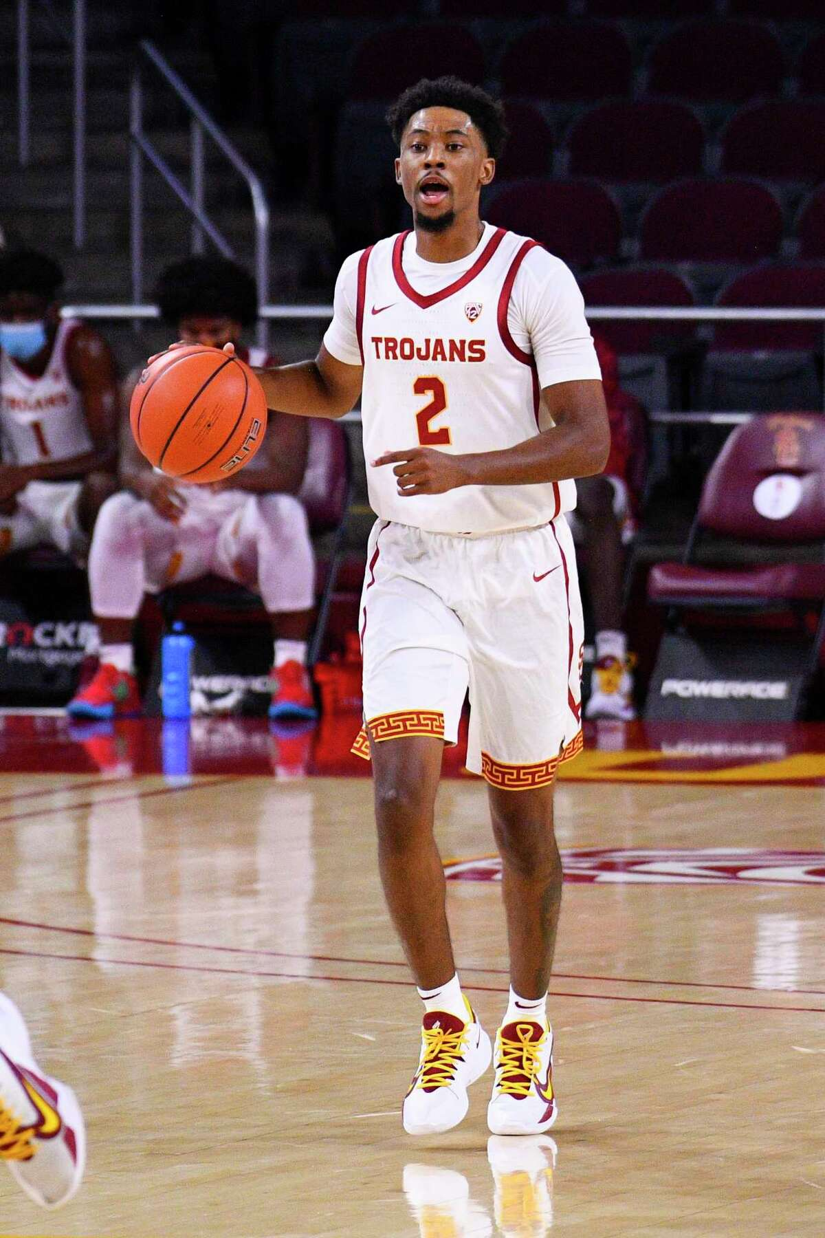 USC guard Tahj Eaddy brings the ball up the court against California in November.