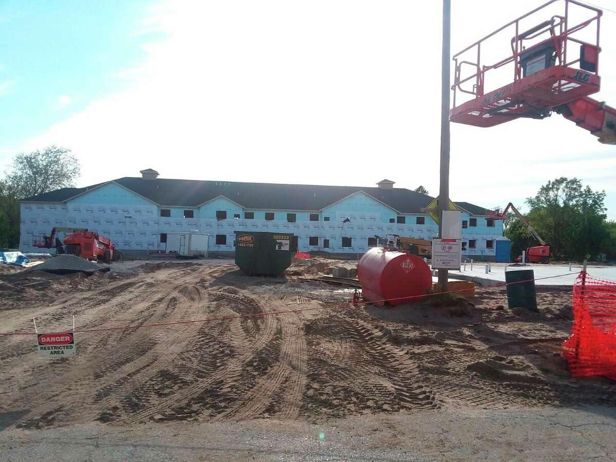 This photo taken on May 31 shows some of the progress on the Hillcrest Apartments in Manistee. (Michelle Graves/News Advocate)
