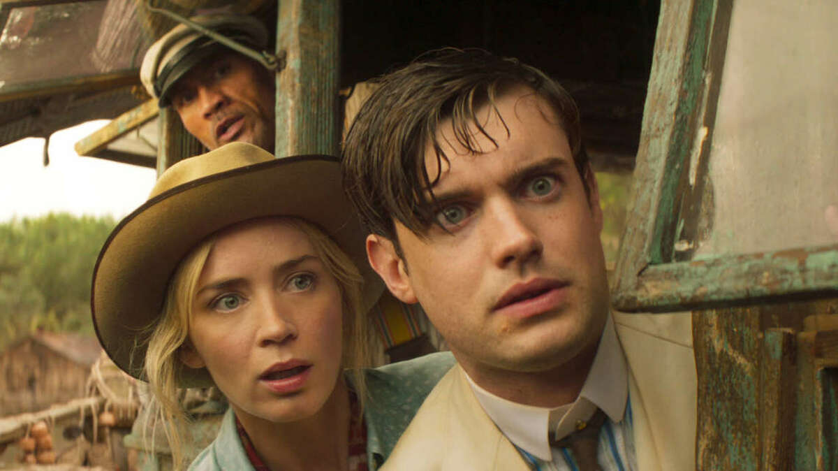 """Emily Blunt, left, shown here with Dwayne Johnson, top, and Jack Whitehall, right, went from the """"Quiet Place"""" to the """"Loud and Chaotic Place"""" in this week's new Disney release, """"Jungle Cruise."""""""