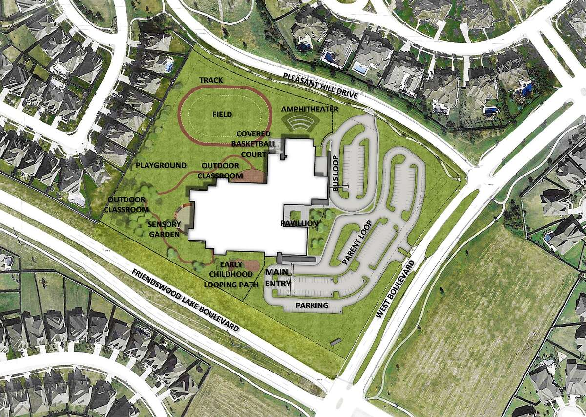 The Friendswood ISD campus will be in West Ranch at the intersection of Friendswood Lake and West boulevards.