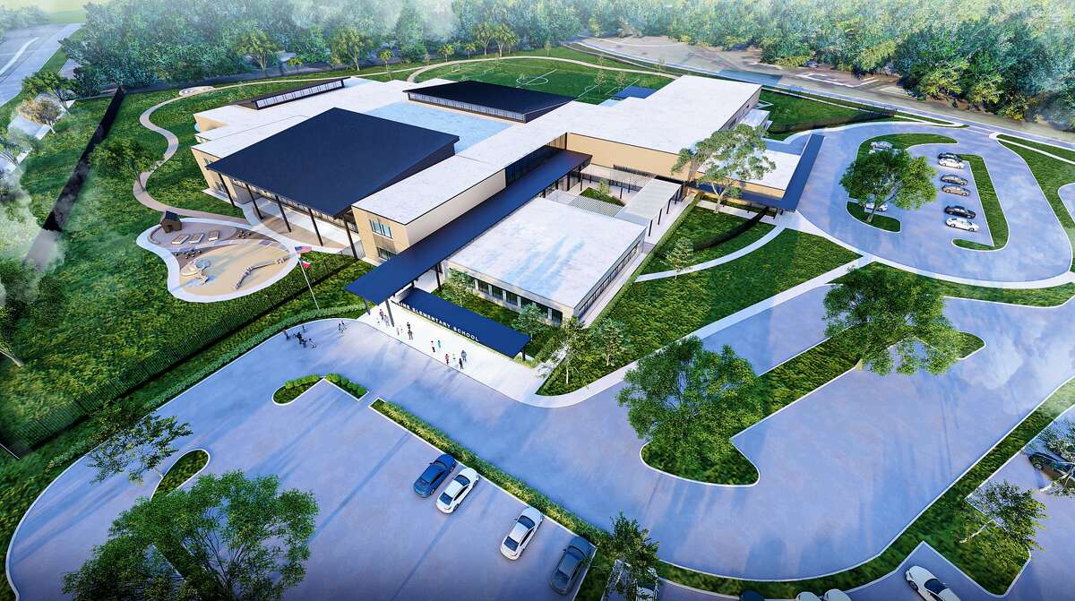 This rendering shows an aerial view of what the planned new campus for Cline Elementary may look like.