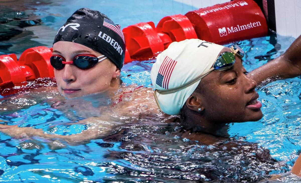 TOKYO, Japan - United States swimmers Katie Ledecky and Simone Manuel during a training session at the Olympic Aquatic Centre in Tokyo on July 22, 2021.