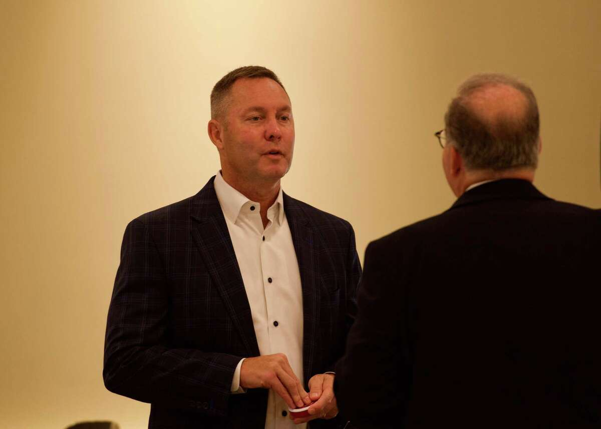 New USGA CEO Mike Whan chats during the Kolbe Conversations breakfast at The Patterson Club on Tuesday, July 27, 2021. Whan was the guest speaker.