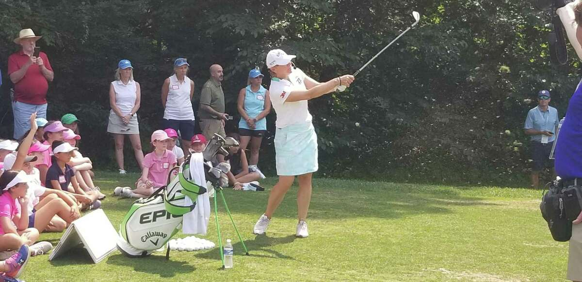 """Annika Sorrenstam hits a shot during her """"Share My Passion"""" Clinic held at Brooklawn Country Club on July 27, 2021."""