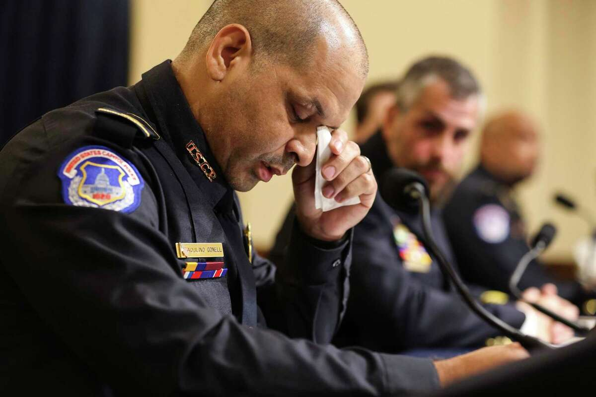 U.S. Capitol Police Sgt. Aquilino Gonell pauses during his testimony at the first hearing of the select committee investigating the deadly storming of the Capitol in Washington on Tuesday, July 27, 2021. (Oliver Contreras/The New York Times)