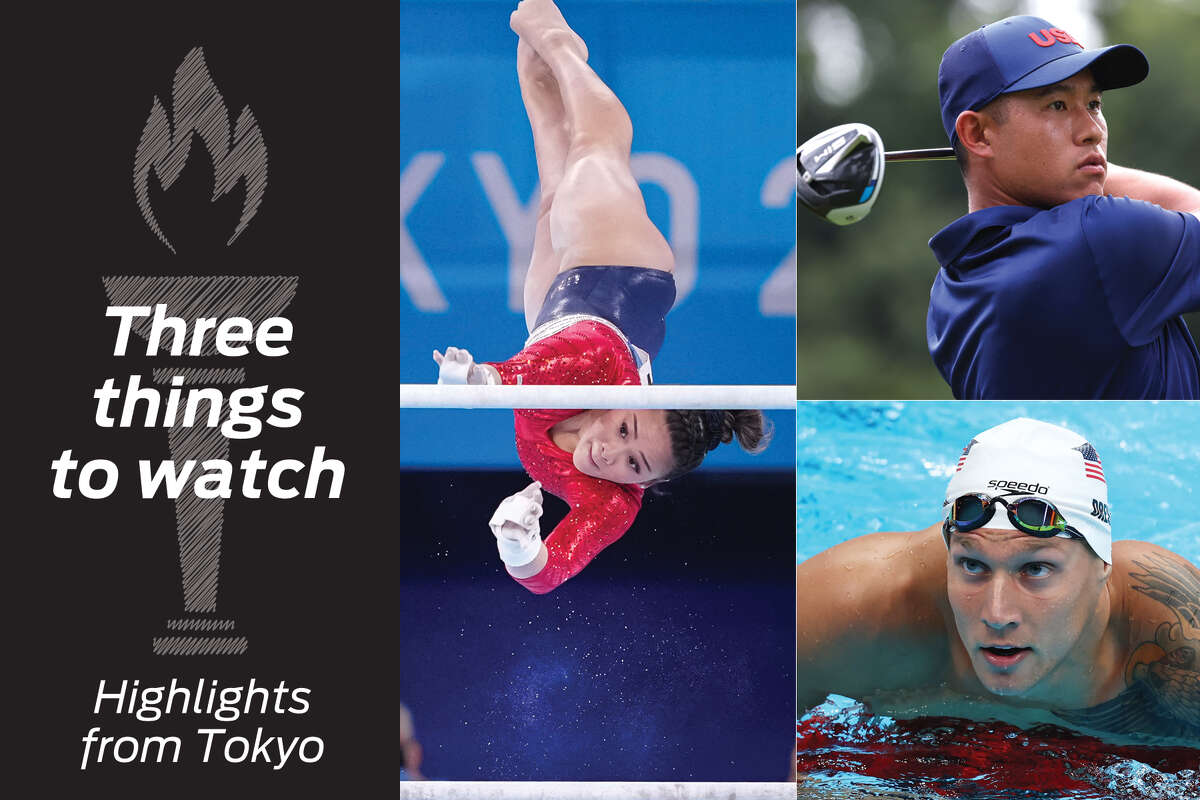 Clockwise from center: Sunisa Lee, Collin Morikawa and Caeleb Dressel highlight Olympic events.