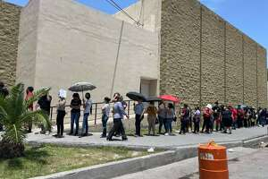 Photos obtained by the Laredo Morning Times show the long lines at a vaccination site in Nuevo Laredo. The city recently began mass vaccinations after receiving shipments of the vaccine from the U.S.