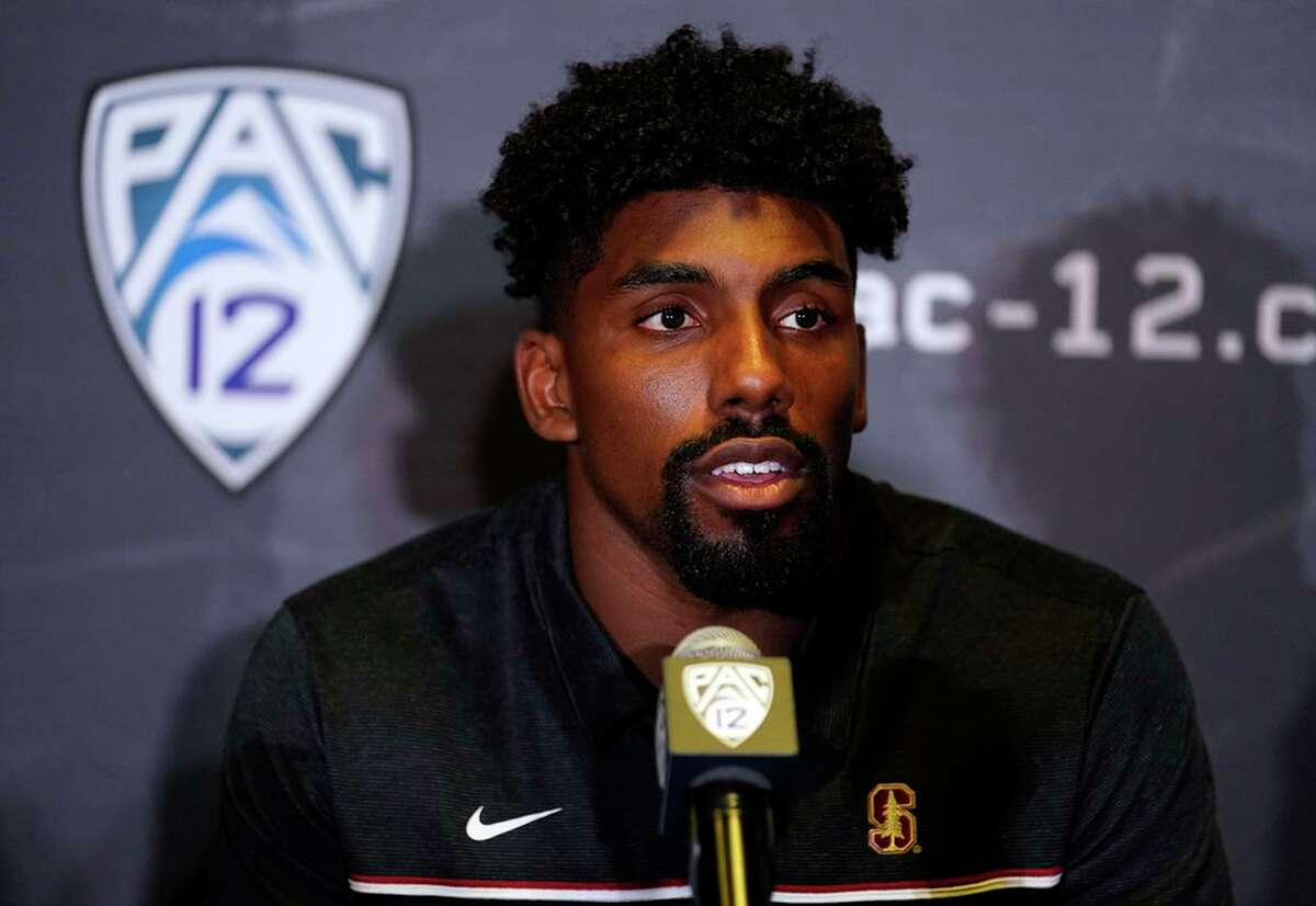 Stanford defensive end Thomas Booker fields questions during Tuesday's Pac-12 media day.