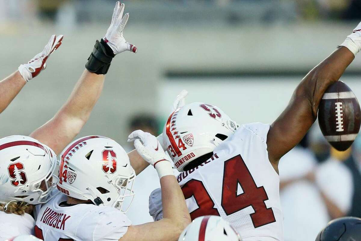 Stanford defensive end Thomas Booker blocks an extra point attempt to preserve the Cardinal's 24-23 win in November's Big Game.