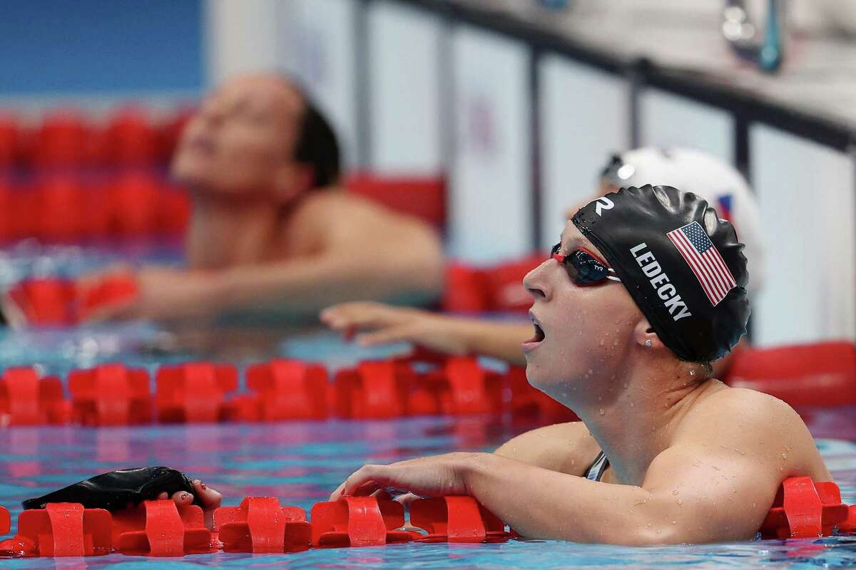 Katie Ledecky of Team United States reacts after competing in the Women's 200m Freestyle Final on Day 5 of the Tokyo 2020 Olympic Games at Tokyo Aquatics Centre on July 28, 2021 in Tokyo.