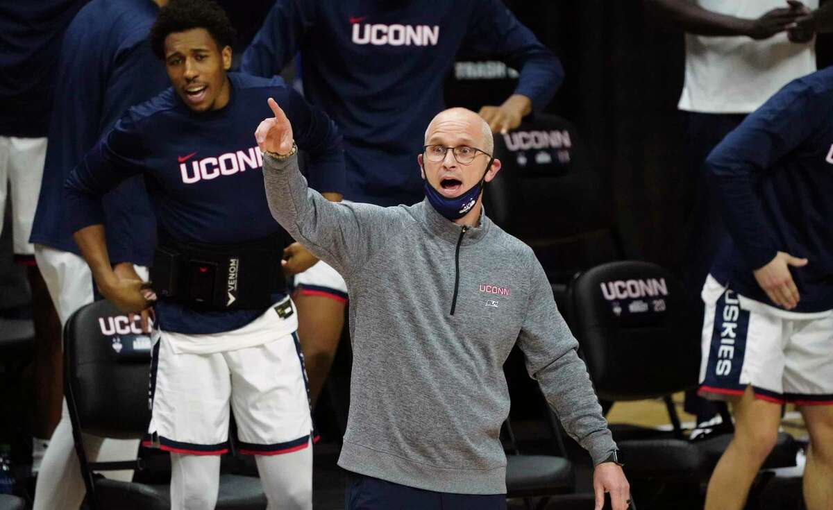 UConn coach Dan Hurley watches from the sideline during the first half of against DePaul in December in Storrs.