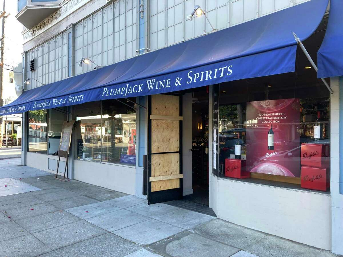 Thieves smashed the window of PlumpJack Wine & Spirits on Tuesday morning, the latest burglary at the San Francisco wine store owned by Gov. Gavin Newsom.