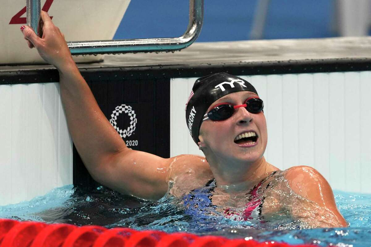 Katie Ledecky of the United States celebrates winning the women's 1500-meters freestyle final at the 2020 Summer Olympics, Wednesday, July 28, 2021, in Tokyo, Japan.