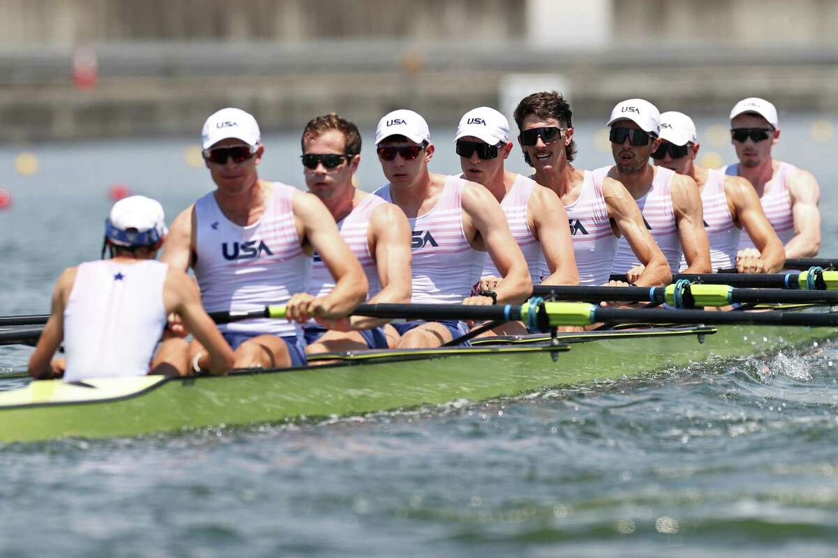 Julian Venonsky, Liam Corrigan, John Harrity, Nicholas Mead, Alexander Richards, Austin Hack, Daniel Miklasevich, Justin Best and Benjamin Davison of Team United States compete during the Men's Eight Heat 1 at the Tokyo 2020 Olympic Games at Sea Forest Waterway on Saturday in Tokyo.