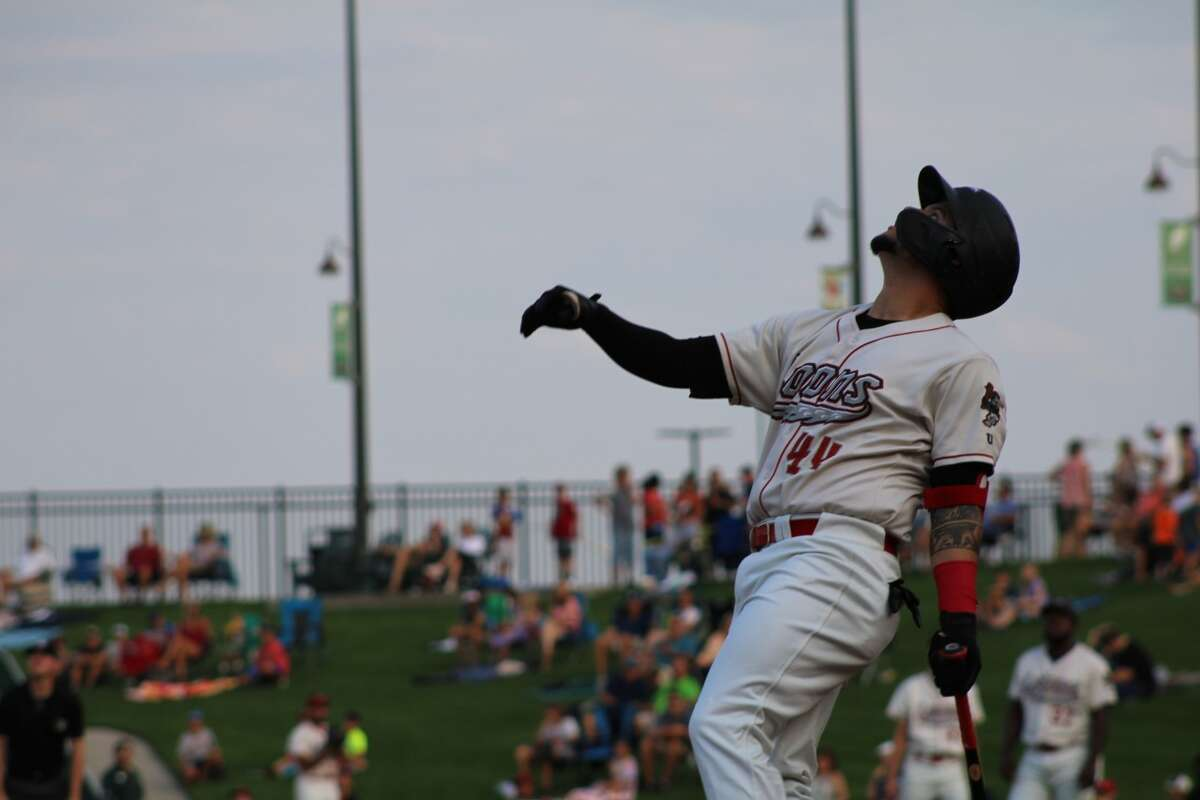 Loons right fielder Andy Pages watches a flyball against West Michigan on July 28 at Dow Diamond (Austin Chastain/austin.chastain@hearstnp.com).