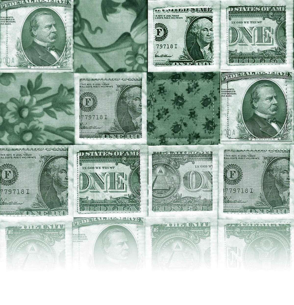 300 dpi Michael Miner color illustration of a quilt made up of U.S. currency. Chicago Tribune 2008 With BC-CPT-SOCIALFINANCE:TB, Chicago Tribune by Eric Benderoff 04000000; FIN; krtbusiness business; krtnational national; krtedonly; mctillustration; 04008002; 04008004; 04008009; 04008014; 04008016; 04008017; 04008018; 04008019; 04008020; 04008021; 04008022; 04008026; budget; consumer issue; credit; currency value; debt; inflation; INT; interest rate; krtconsumerconfidence consumer confidence; krteconindicator economic indicator; krtmacroecon macroeconomics macro economic; krtmacroecon macroeconomics macro economics; krtnamer north america; krtstock stock; krtusbusiness; loan; mortgage; price; STX; u.s. us united states; krteconcrisis08; currency; dollar; miner; quilt; socialfinance; benderoff; tb contributed; 2008; krt2008