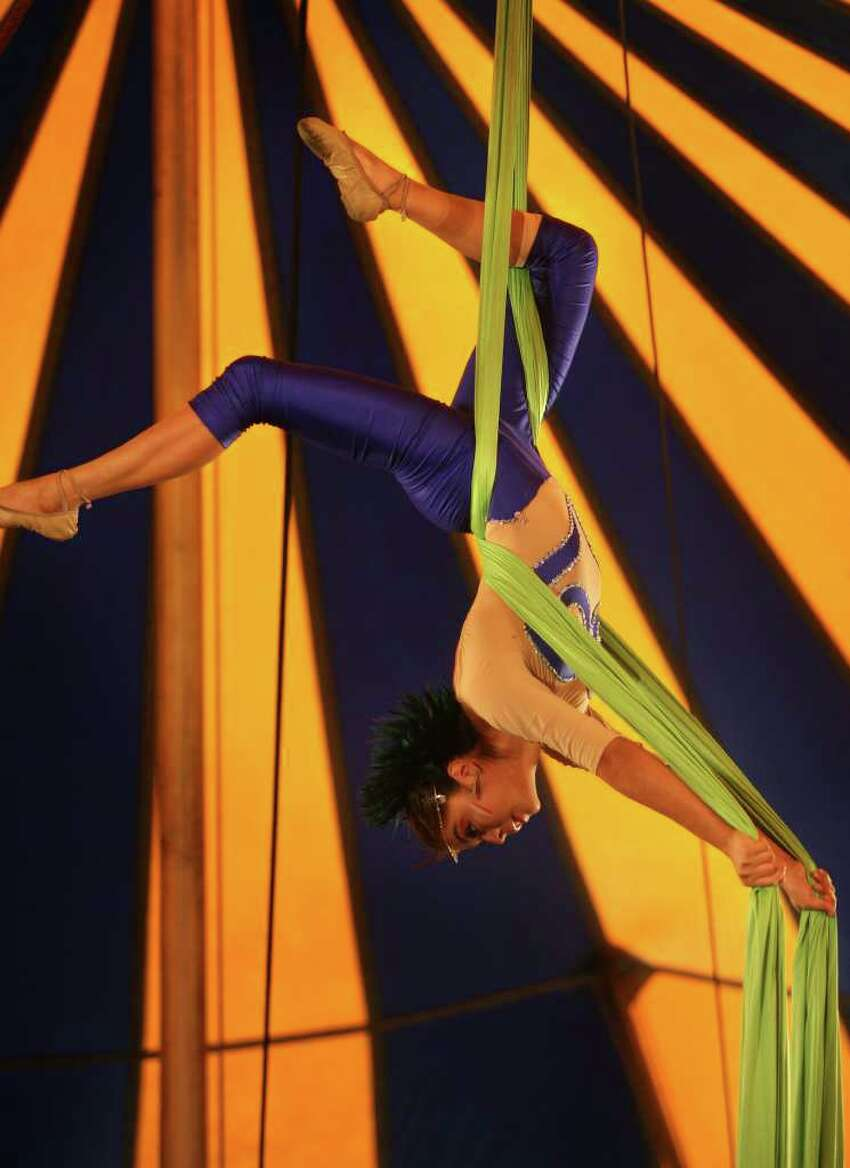 A performer for the Zerbini Family Circus performs under the big top at the annual Elizabeth M. Pfriem Circus at Beardsley Park in Bridgeport on Wednesday, September 15, 2010.