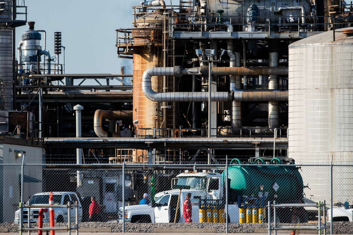 Workers at a LyondellBasell facility in La Porte off of Miller Cut Off Road, Wednesday, July 28, 2021, in La Porte.