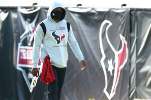 Texans quarterback Deshaun Watson at the first day of Texans training camp on Wednesday, July 28, 2021.