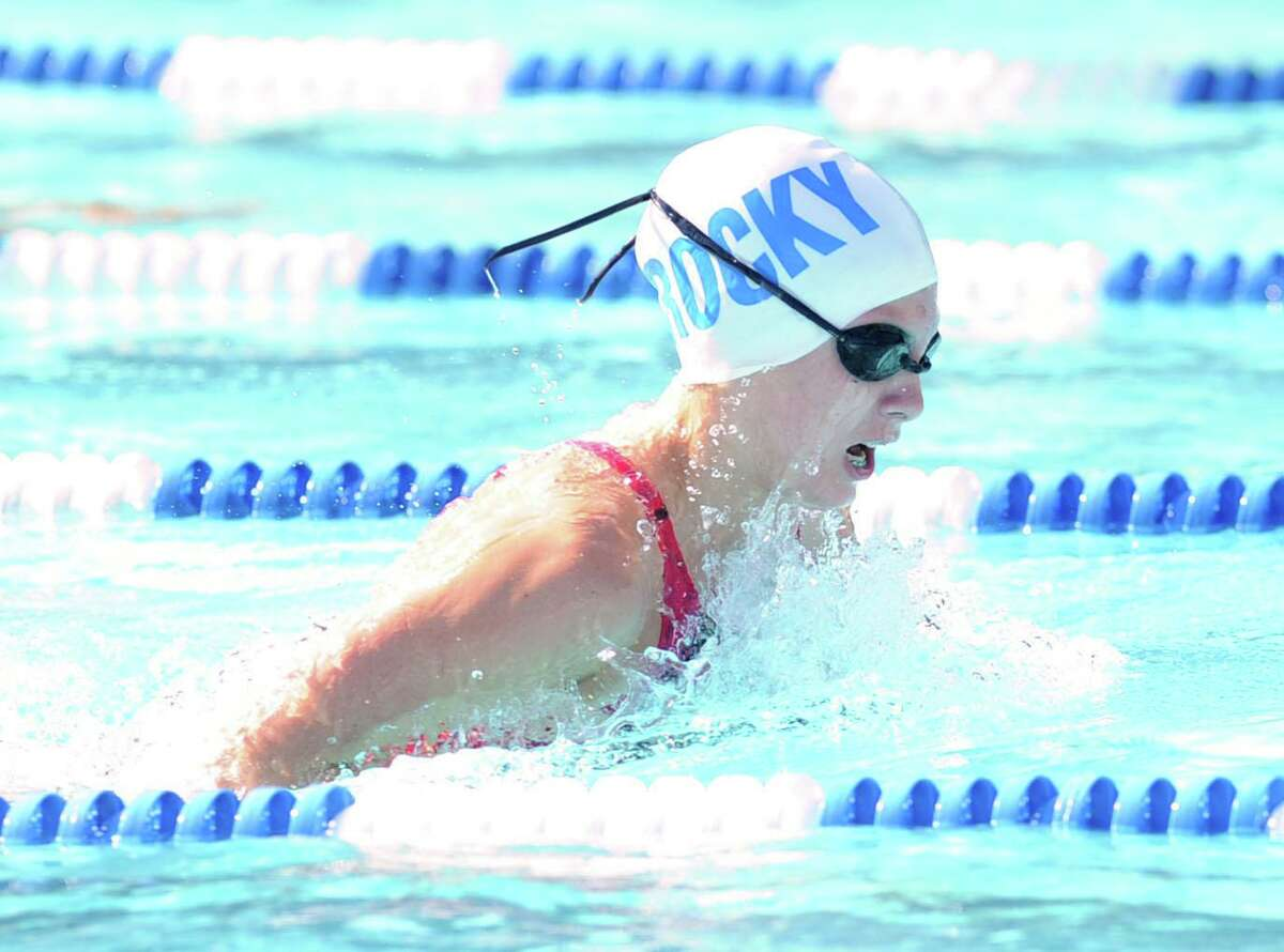 Alex Walsh of the Rocky Point Club competes in the medley relay event during the Fairfield County Swimming League championship meet at the Roxbury Swim Club in Stamford, Conn., Saturday, Aug. 9, 2014.