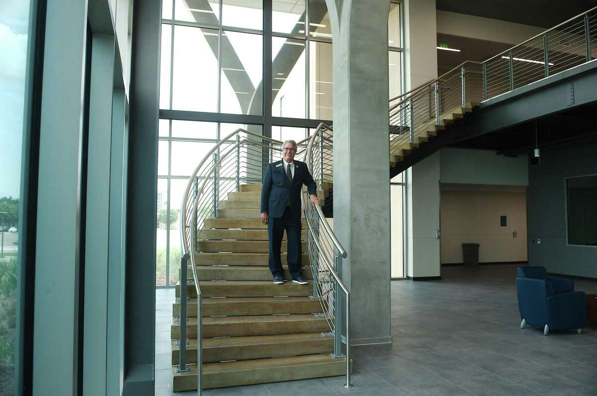 Morris stands in the new Center for Engineering and Technology at San Jacinto College South where the cloud computing degree program will be based. There are eventual plans to expand the course to include tSan Jacinto College's Central and North campuses.