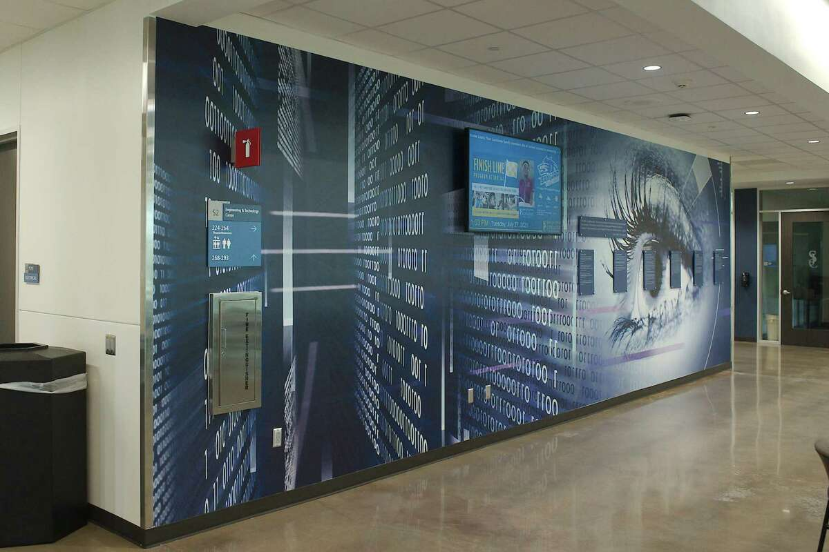 A wall encourages students to learn more about the technology programs offered at the new Center for Engineering and Technology at San Jacinto College South.