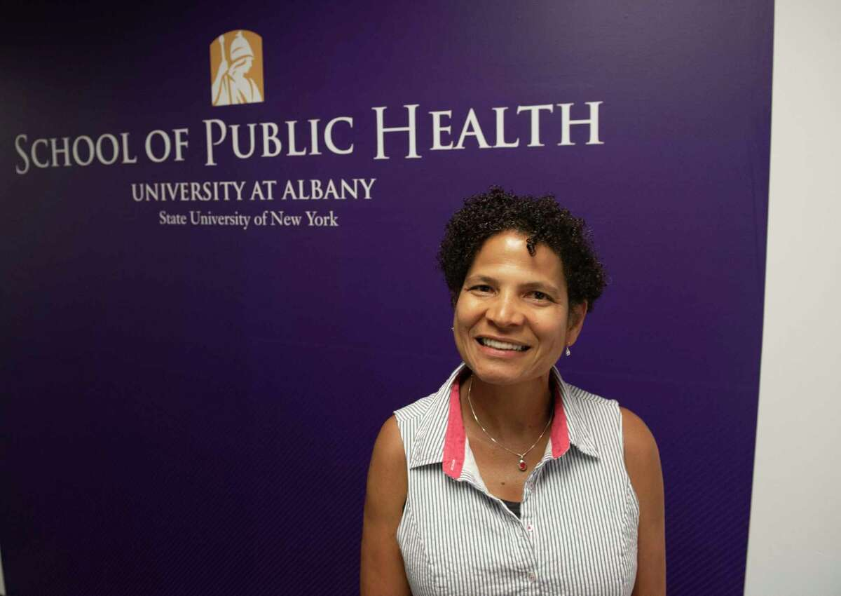 Dr. Elizabeth Vasquez, department chair, epidemiology and biostatistics at UAlbany School of Public Health, is seen in her office building on Tuesday, July 27, 2021 in Rensselaer, N.Y. (Lori Van Buren/Times Union)