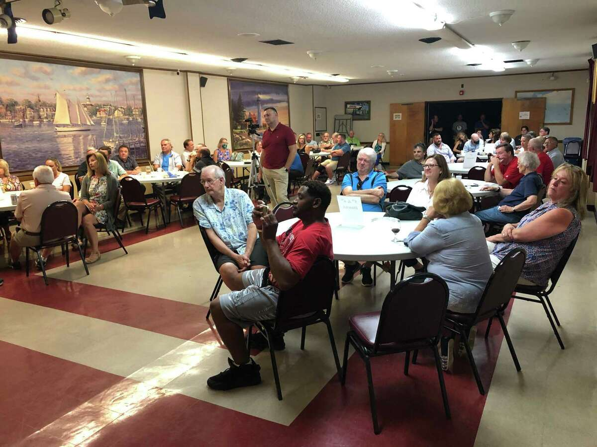 Stratford Republicans gather to endorse candidates inside the Veterans of Foreign Wars hall July 27, 2021.